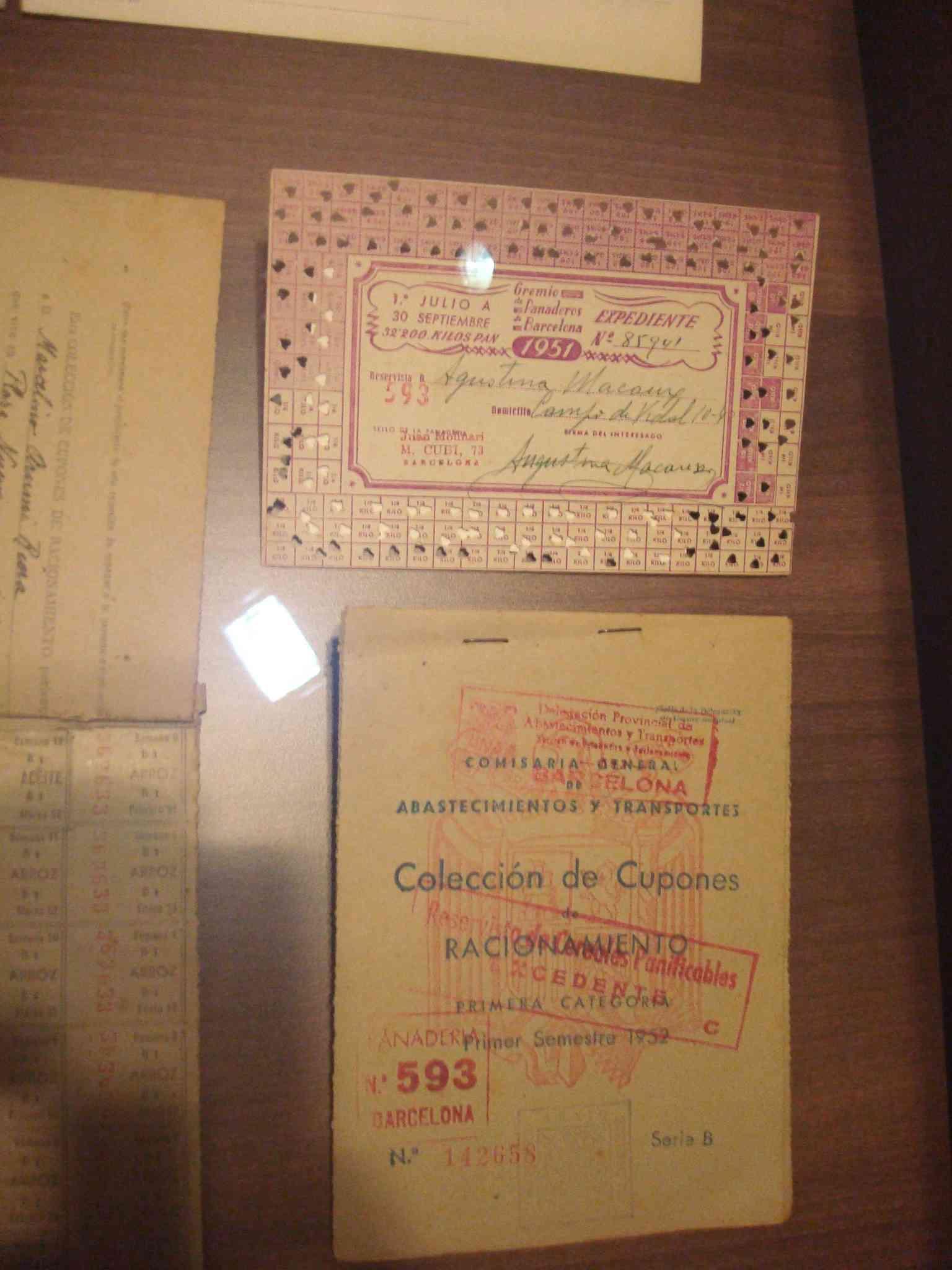Cupons de racionament d'aliments any 1951