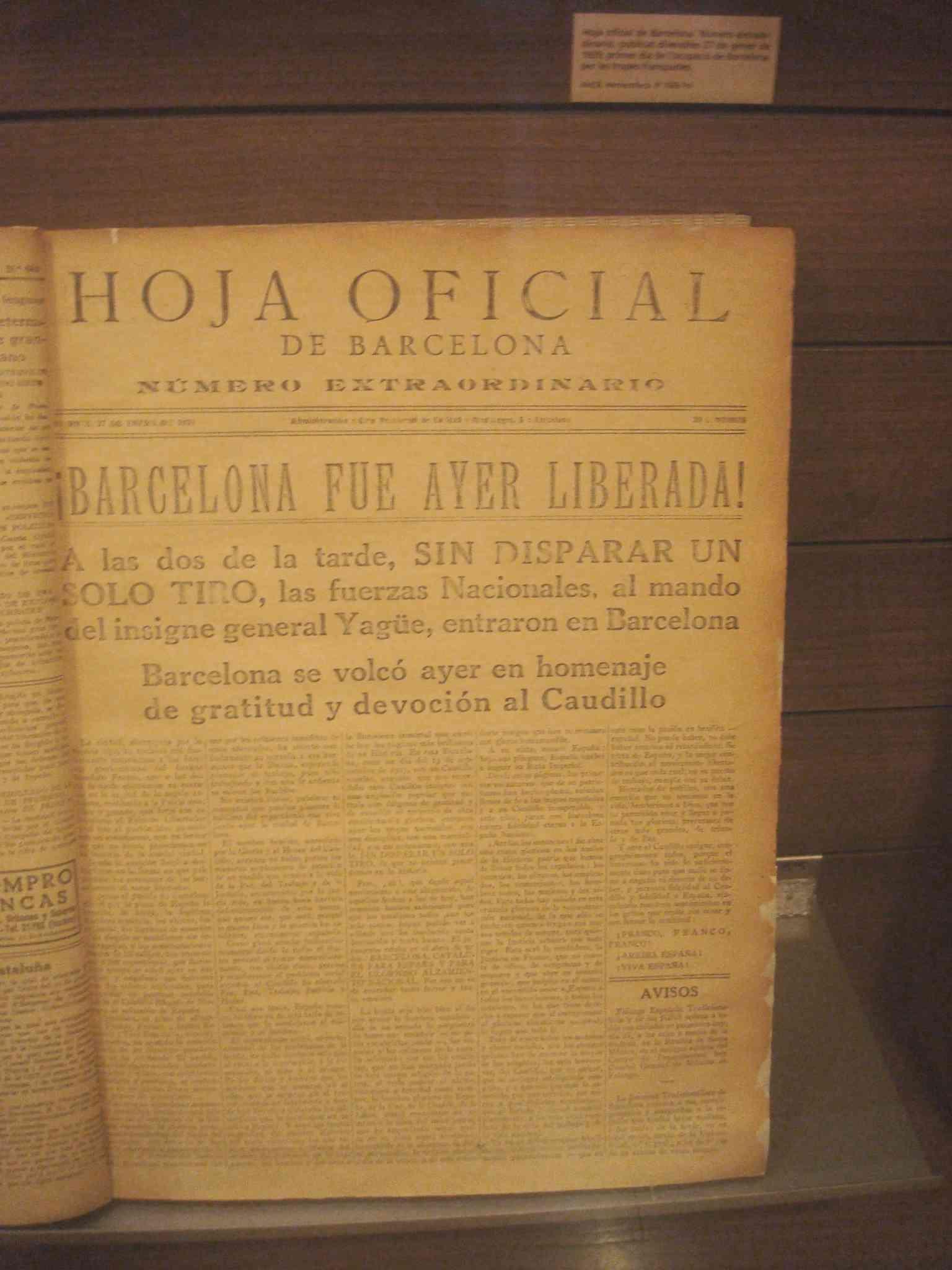Full extraordinari de la Generalitat amb data 27 de gener de 1939