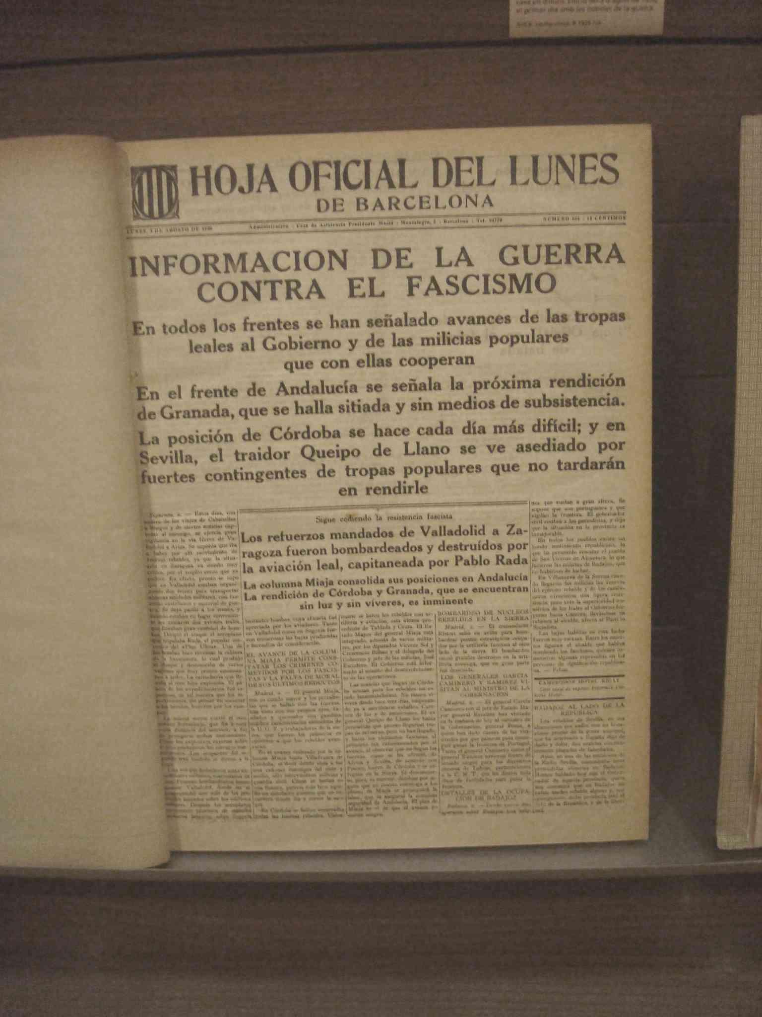 Full oficial de la Generalitat del dilluns 1 d'agost de 1936