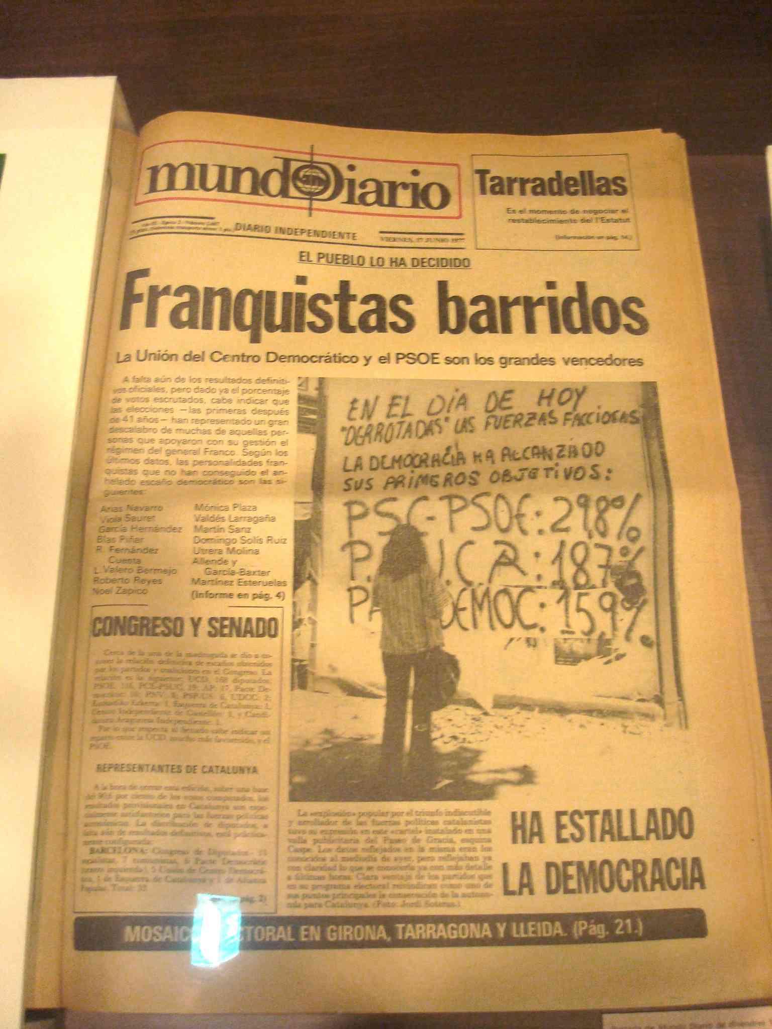 Portada del Mundo Diario del 27 de juny de 1977, anunciant el començament de la democràcia