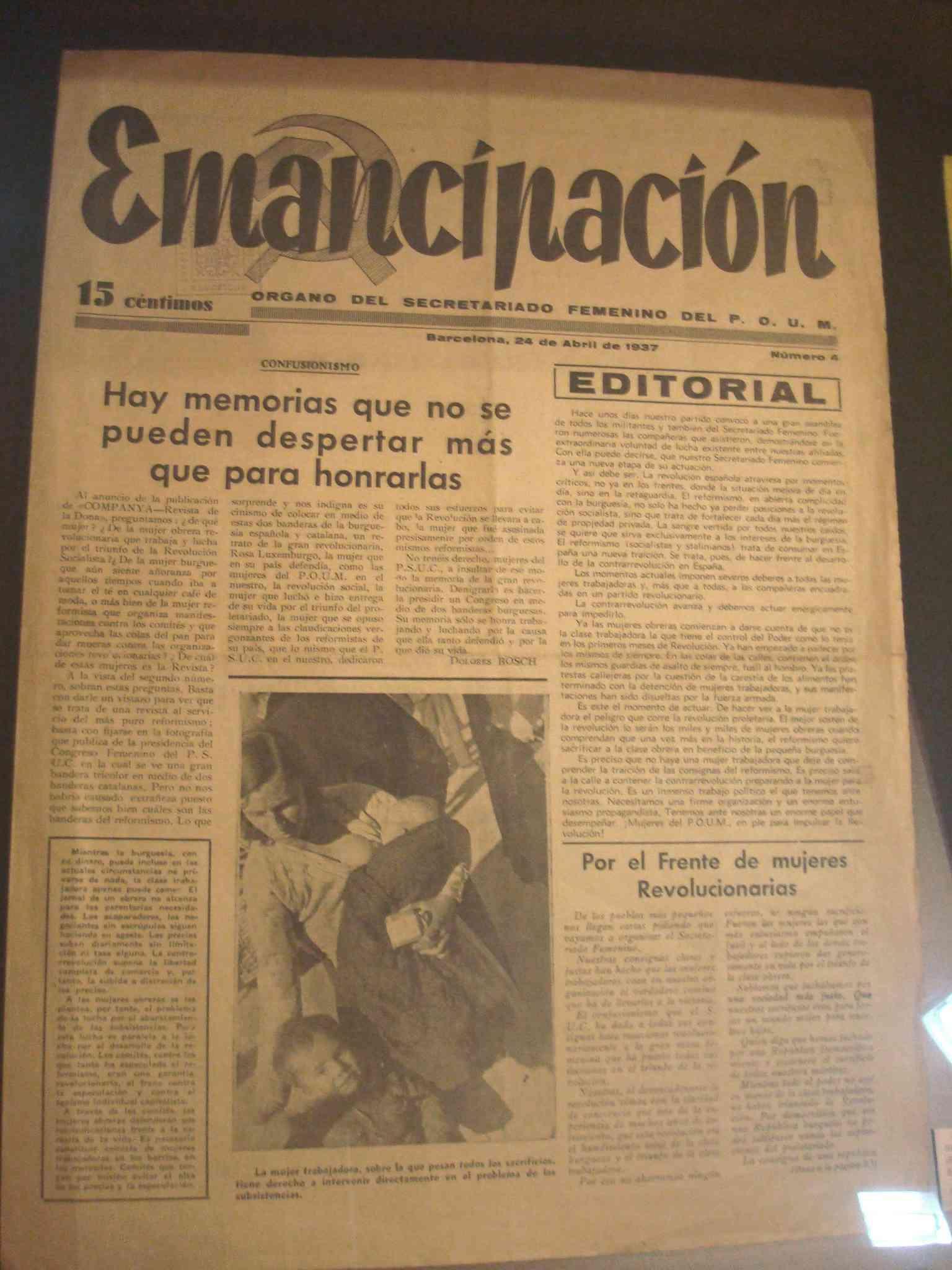 Publicació de l'Òrgan del Secretariat Femení del P.O.U.M. amb data 24 d'abril de 1937