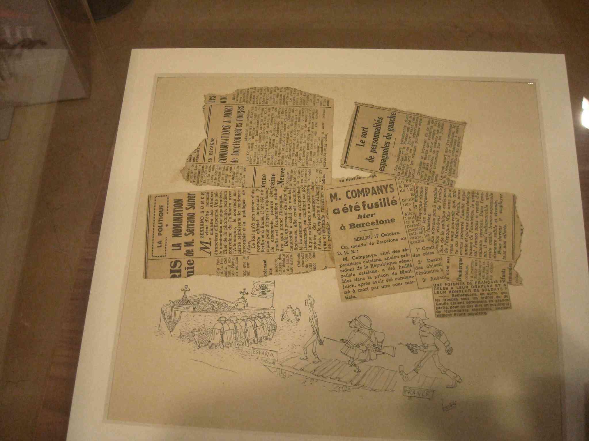 Retalls de diaris Francesos amb diverses notícies dels anys de la guerra i posguerra